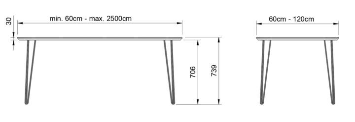 Tafel Hoogte 60 Cm.Linoleum Tafel Treespoke